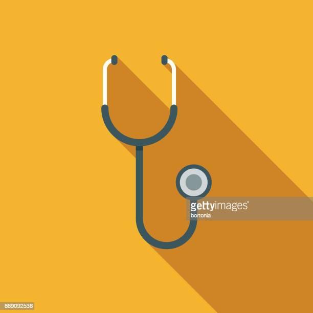 illustrazioni stock, clip art, cartoni animati e icone di tendenza di flat design healthcare stethoscope icon with side shadow - stetoscopio