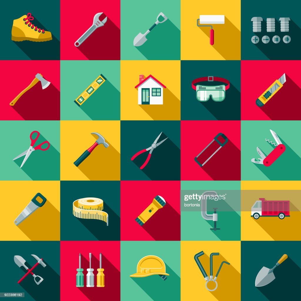 Flat Design Home Improvement Icon Set with Side Shadow : Stock Illustration