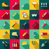 Flat Design Home Improvement Icon Set with Side Shadow