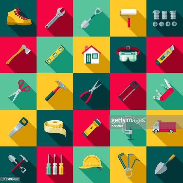 flat design home improvement icon set with side shadow - color image stock illustrations