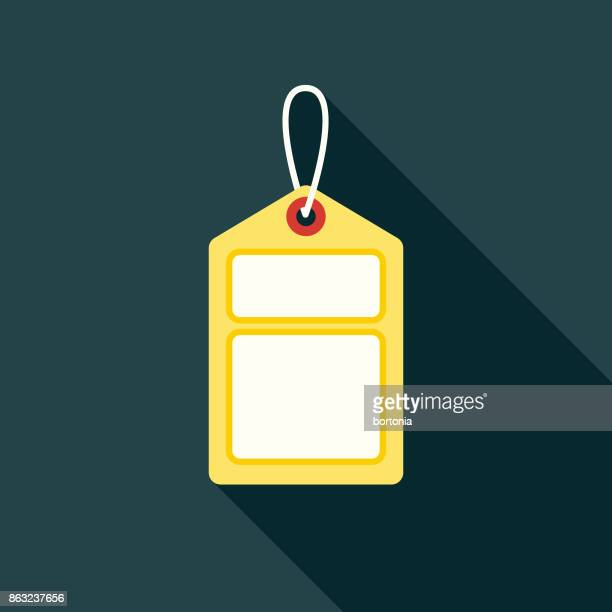 flat design hotel icon: luggage tag - luggage tag stock illustrations, clip art, cartoons, & icons