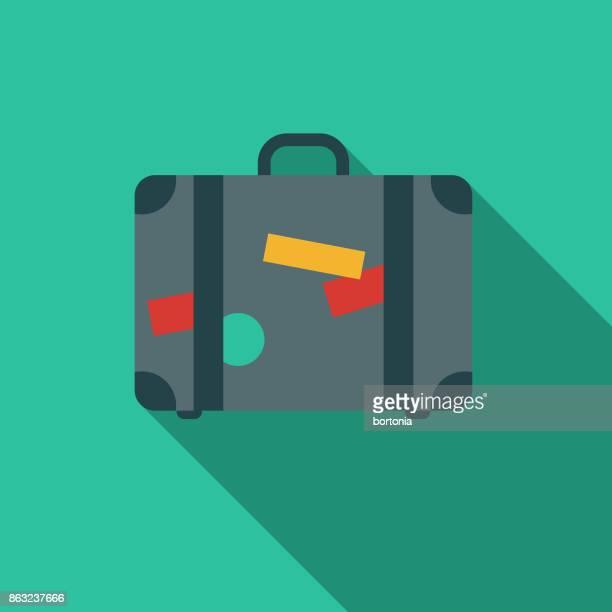ilustraciones, imágenes clip art, dibujos animados e iconos de stock de plano diseño hotel icon: maleta - maleta