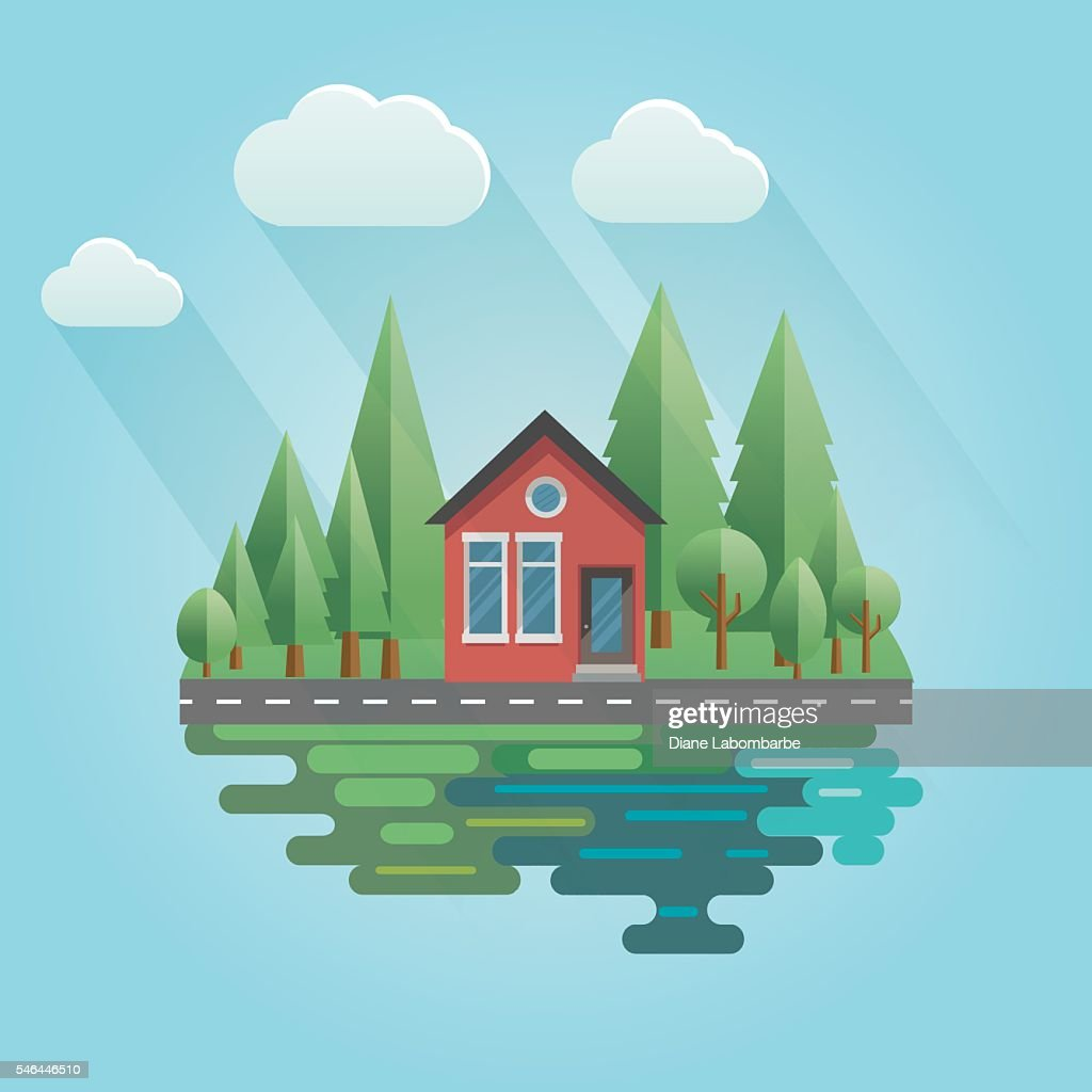 Flat Design Hous With Trees