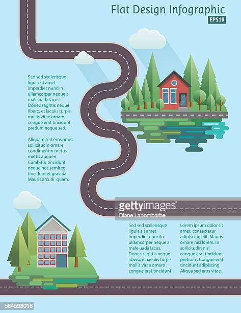 flat design house infographic - thoroughfare stock illustrations, clip art, cartoons, & icons