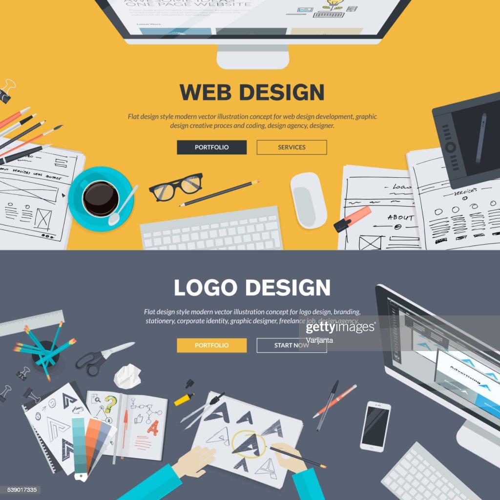 Flat design illustration concepts for web design development and logo design