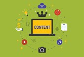 Flat design Illustration: Content is king in digital marketing