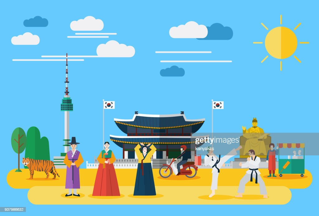 Flat design, Illustration of South Korean landmarks and icons