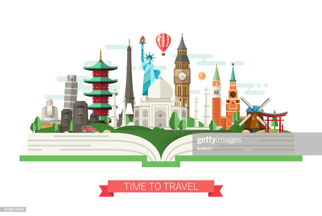 Flat design illustration with world famous landmarks on a book