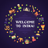 Flat design India travel banner with famous Indian symbols icons