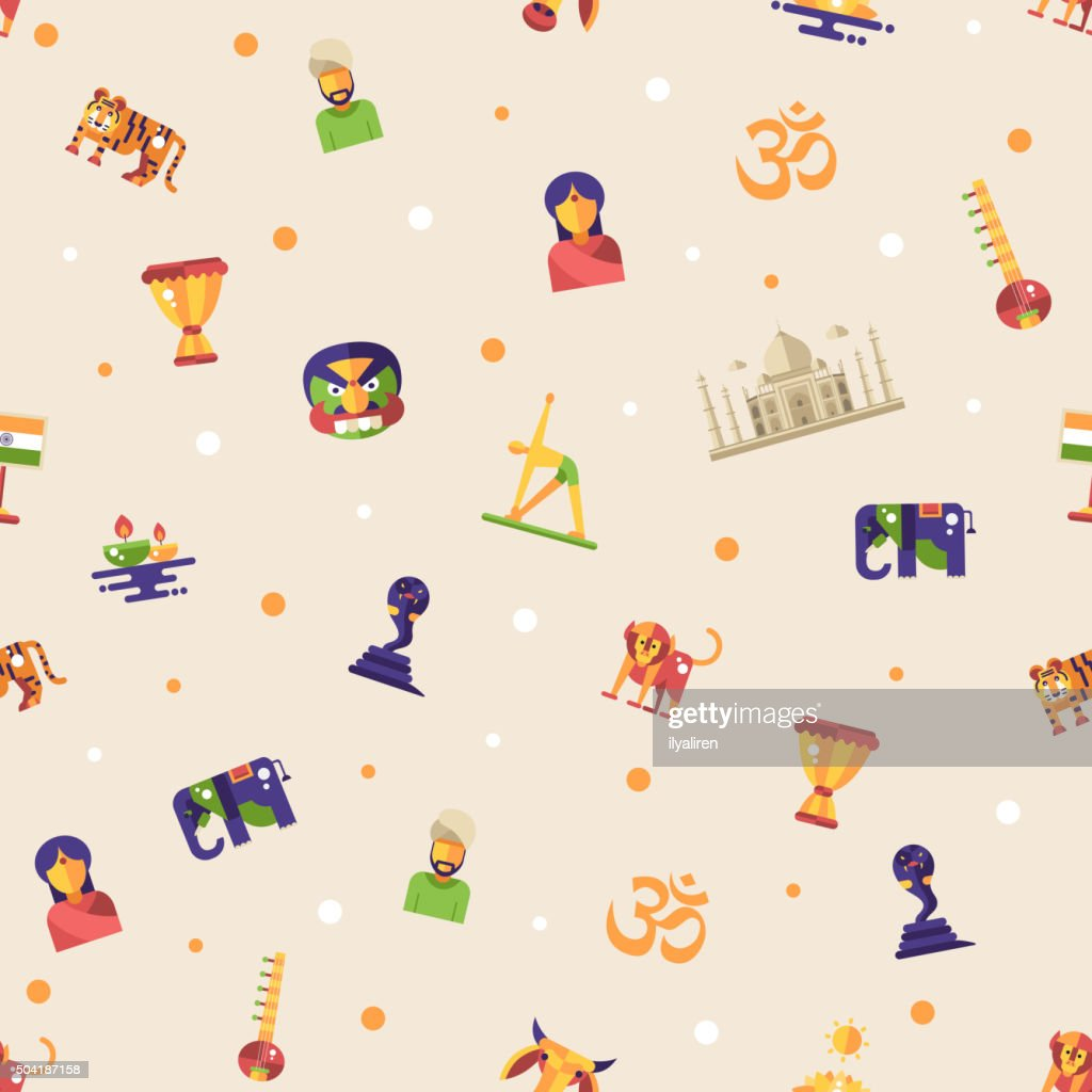 Flat design India travel pattern with famous Indian symbols icons