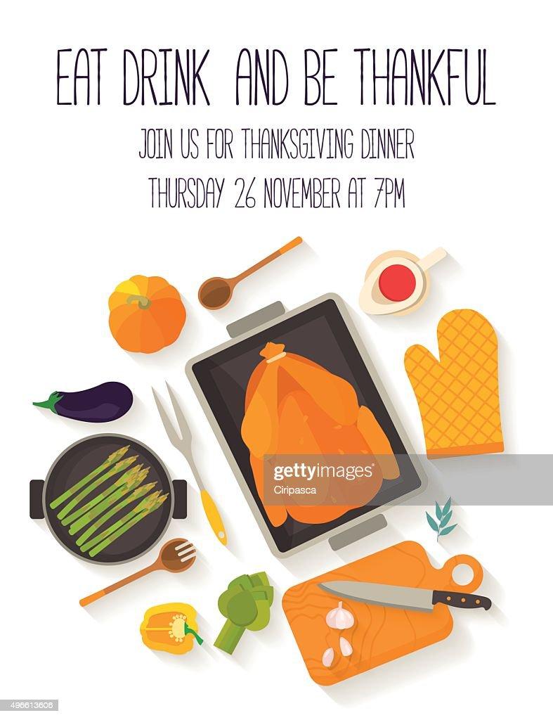 Flat design invitation card for Thanksgiving dinner.