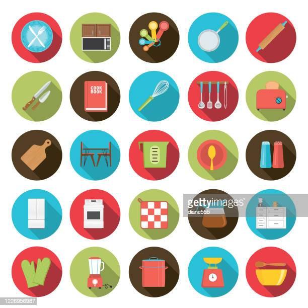 フラットデザインキッチンアイコンセット - 家電製品点のイラスト素材/クリップアート素材/マンガ素材/アイコン素材