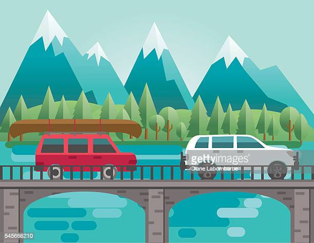 flat design landscape of mountains and trees - suv stock illustrations, clip art, cartoons, & icons