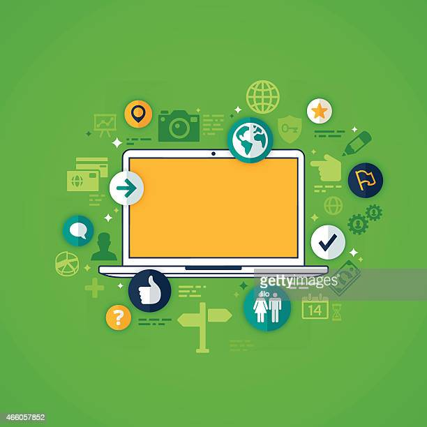 flat design laptop - online advertising stock illustrations, clip art, cartoons, & icons