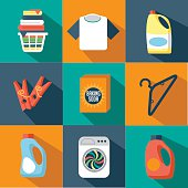 Flat design laundry icon collection
