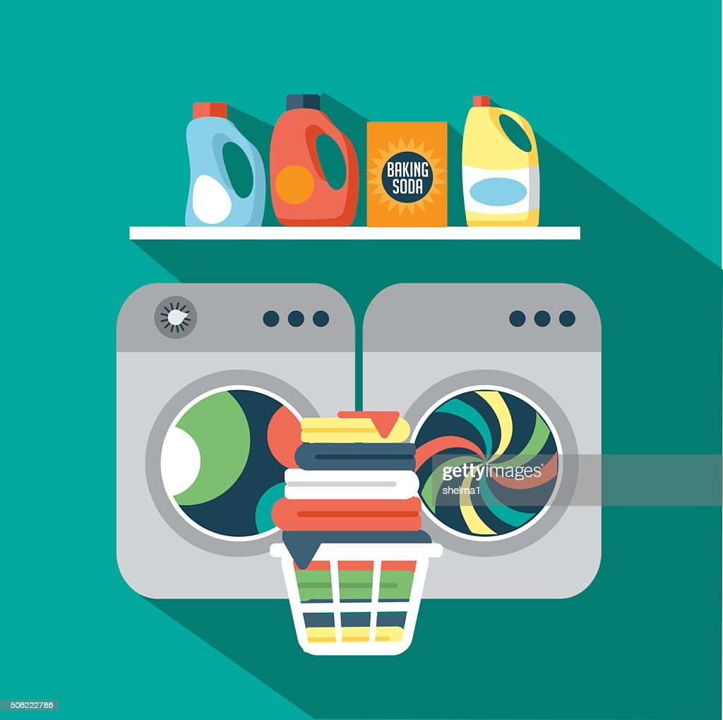 Flat design laundry room
