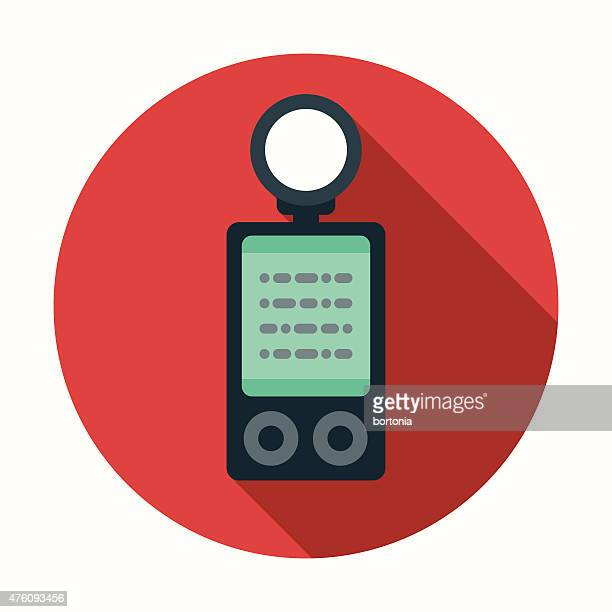 flat design light meter icon with long shadow - meter unit of length stock illustrations