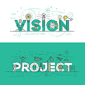 Flat design line concept banner- Vision and Project