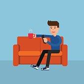 Flat design. Man on sofa relax online activity.