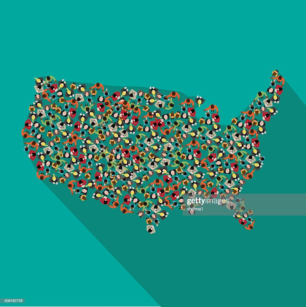 Flat design map of the United States