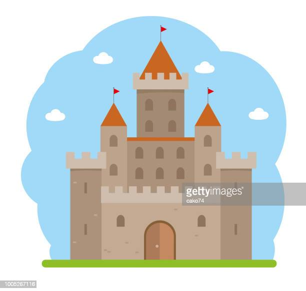 flat design medieval castle - castle stock illustrations