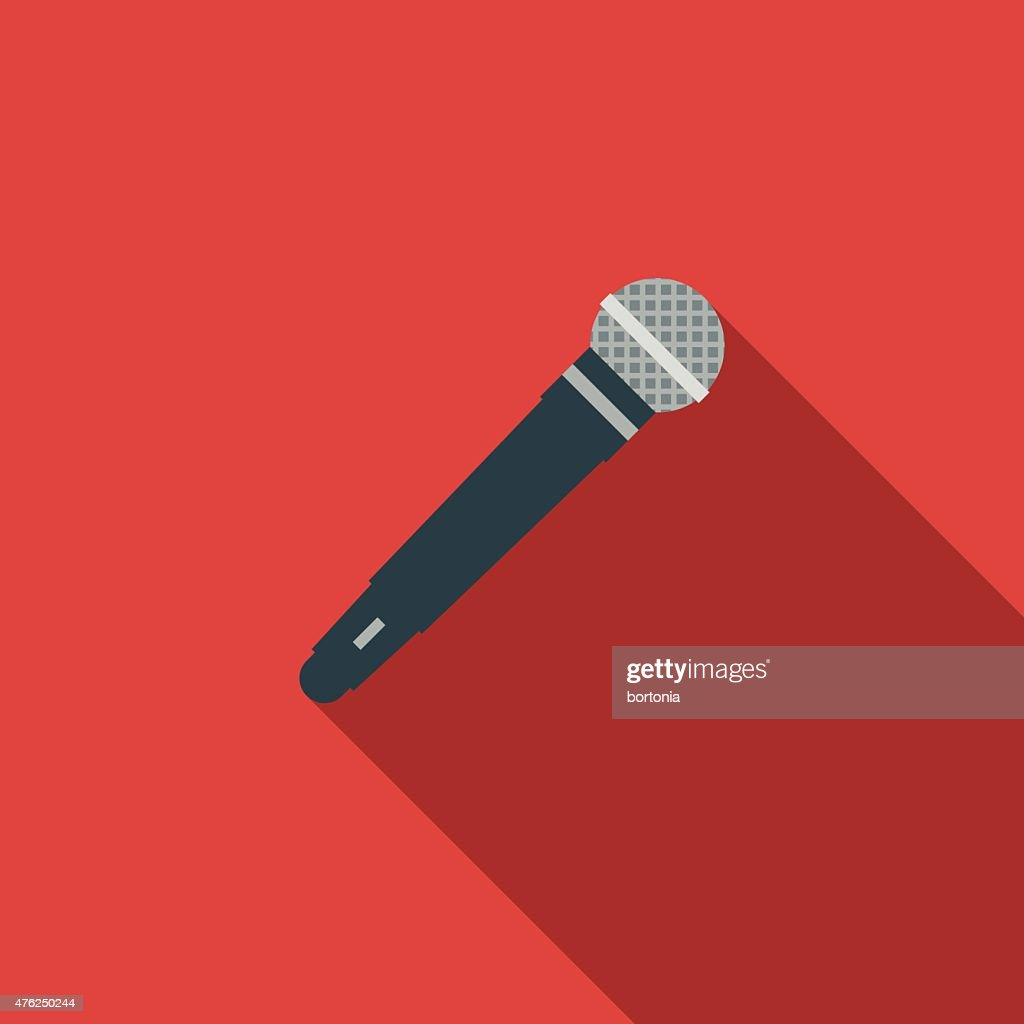 Flat Design Microphone Icon With Long Shadow