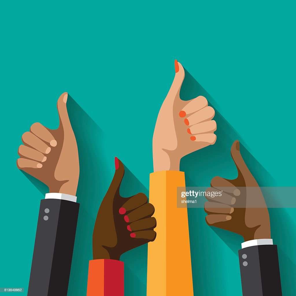 Flat design multicultural group thumbs up.