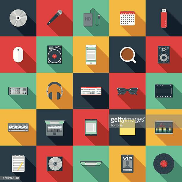 flat design music elements icon set - long shadow design stock illustrations