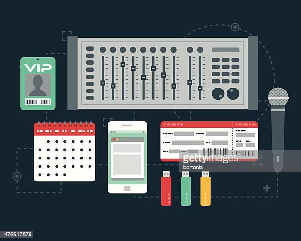 flat design music elements icon set - electric mixer stock illustrations