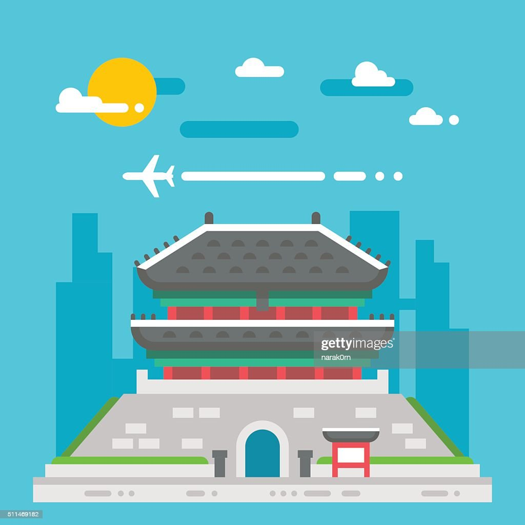 Flat design Namdaemun gate Korea