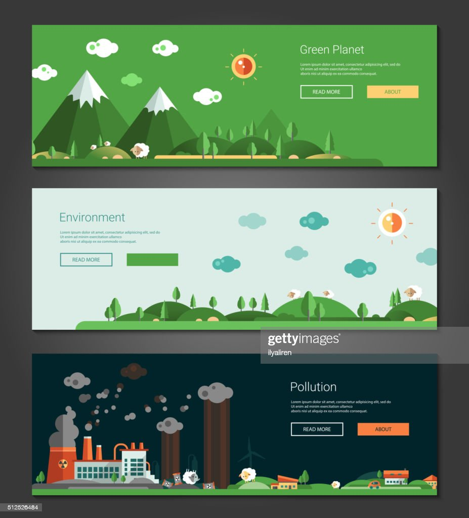 Flat design natural and ecological landscapes banners set