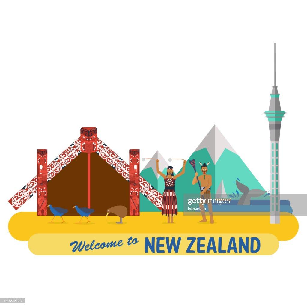 Flat design, New Zealand's landmarks and icons