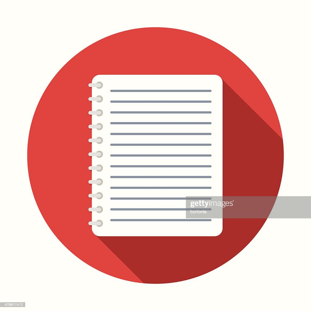 Flat Design Notebook Icon With Long Shadow