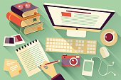 Flat design objects, work desk, office desk, computer and stationery