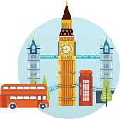 Flat design of London city. Historical and modern building.