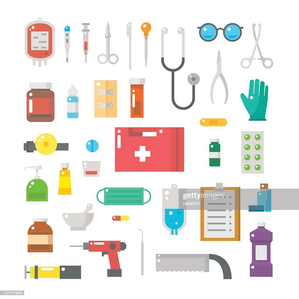 Flat design of medical equipments set