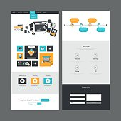 Flat Design of One page website design template.
