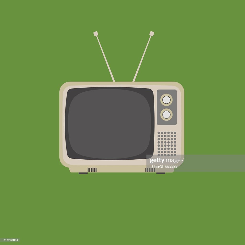Flat Design of retro vintage television