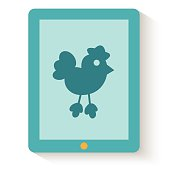 Flat design of social media web icon. Twitter bird on