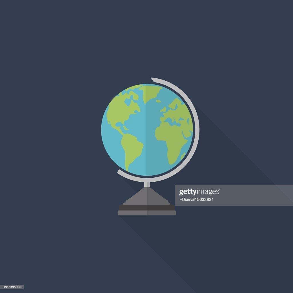 Flat Design Of World Globe, Education Icon