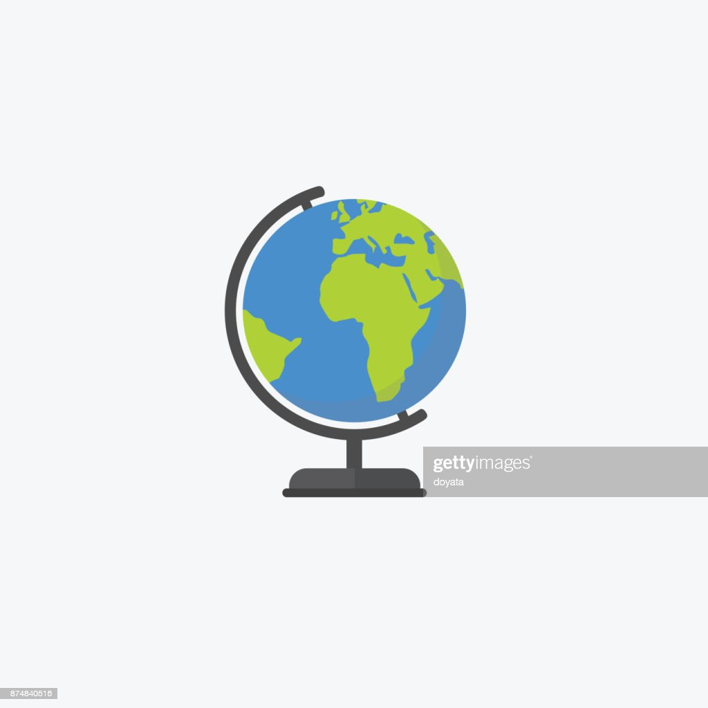Flat design of world globe isolated, Education concept