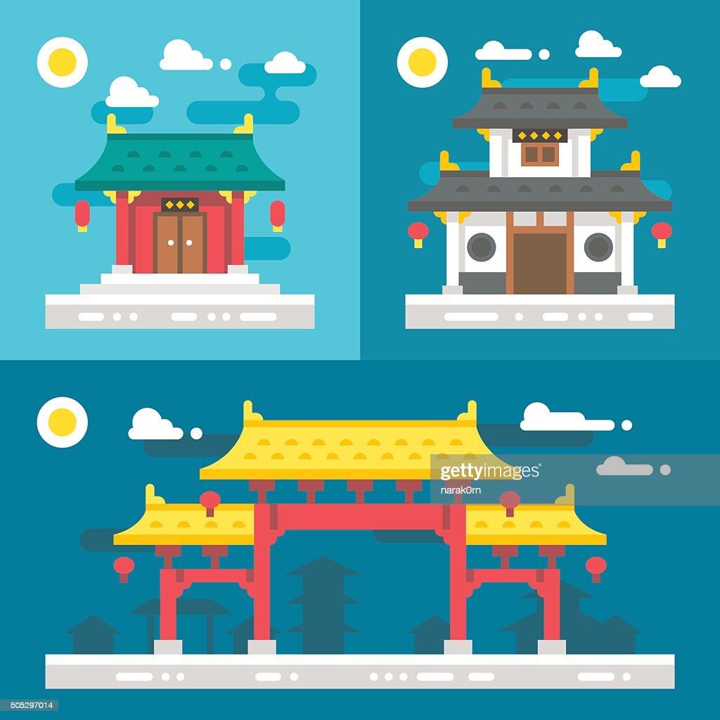 Flat design old chinese buildings