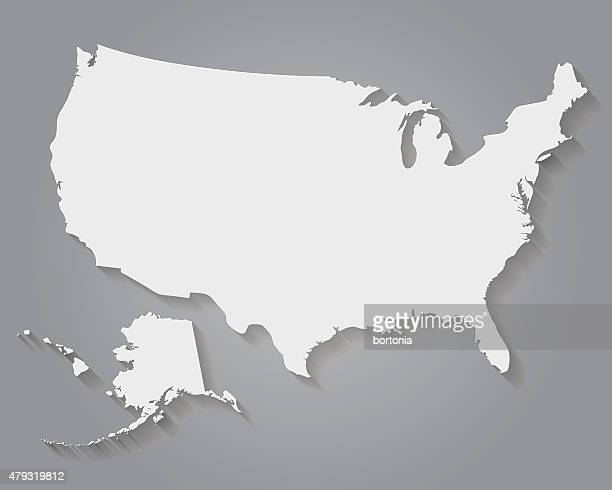 Flat Design Paper United States of America Map