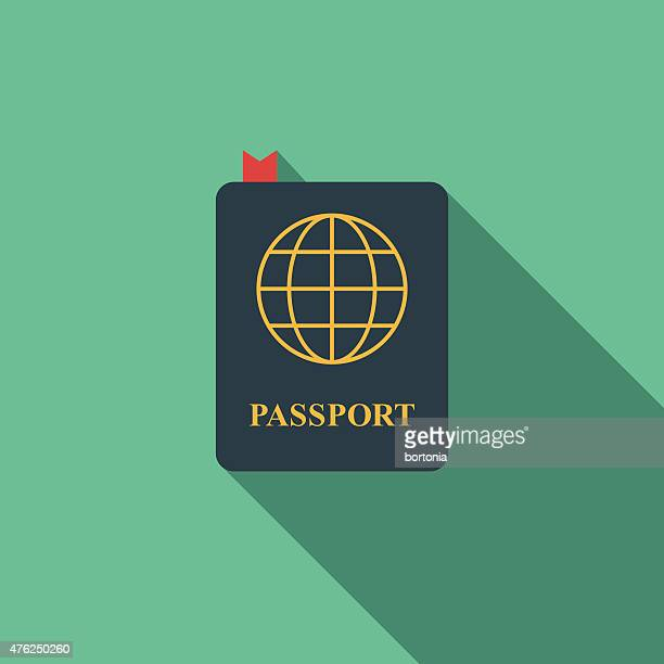 Flat Design Passport Icon With Long Shadow
