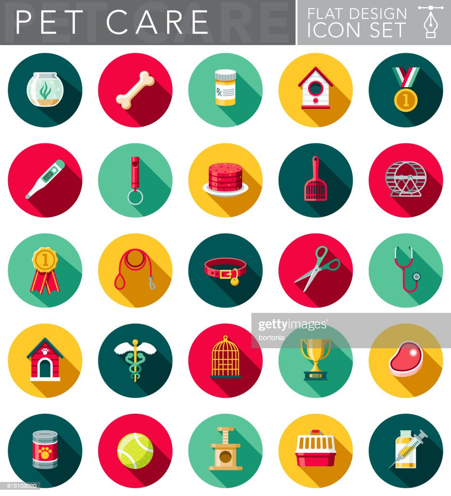 Flat Design Pet Care Icon Set with Side Shadow : stock illustration