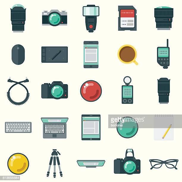 flat design photographer's elements icon set - light meter stock illustrations, clip art, cartoons, & icons