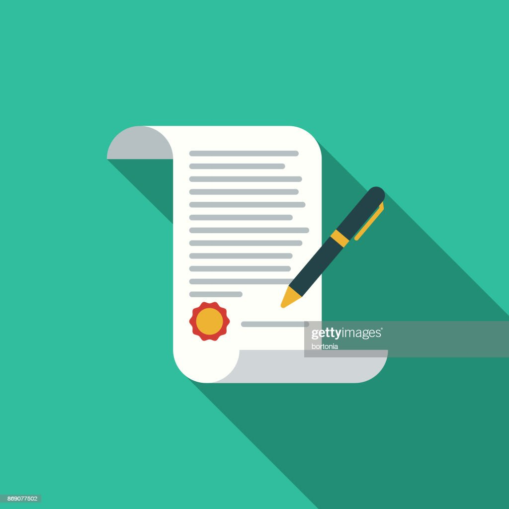 Flat Design Real Estate Contract Icon with Side Shadow : stock illustration