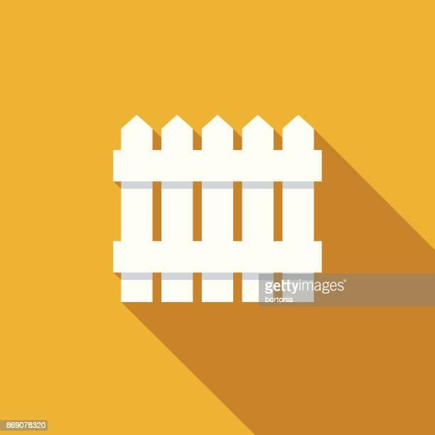 ilustrações, clipart, desenhos animados e ícones de design plano imobiliário cerca ícone com sombra do lado - cercado com estacas