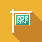 Flat Design Real Estate For Rent Sign Icon with Side Shadow
