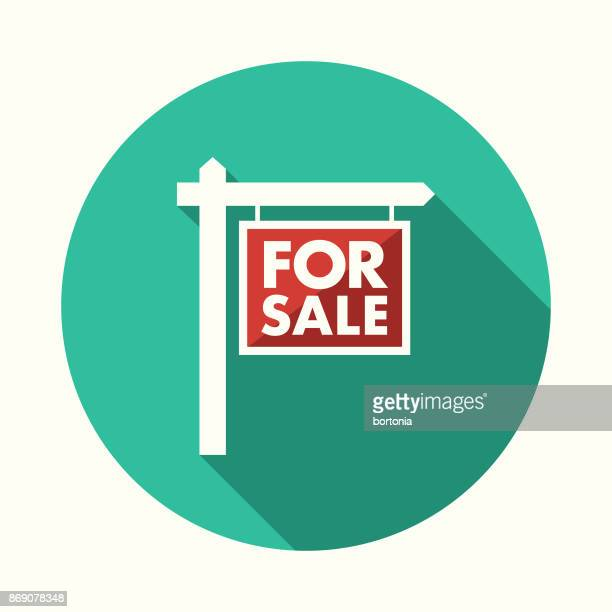flat design real estate for sale icon with side shadow - real estate sign stock illustrations